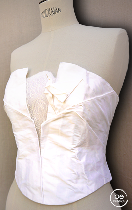"""bustier origami """"oiseau"""" en taffetas de soie et dentelle, sur mesure"""