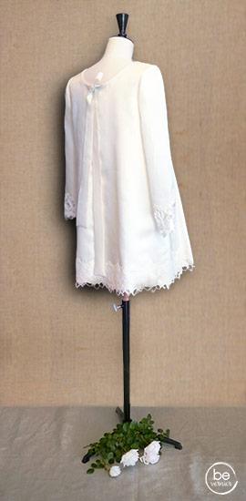 """robe courte """"baby-doll"""" en double organza de soie et dentelle de Calais"""