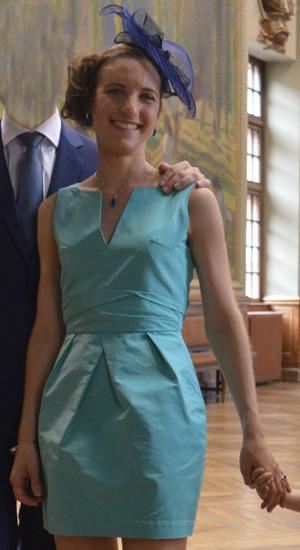 robe civile sur mesure en faille de soie turquoise