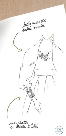 croquis exclusif d'un boléro et robe de mariée sur mesure en soie, cachemire et guipure