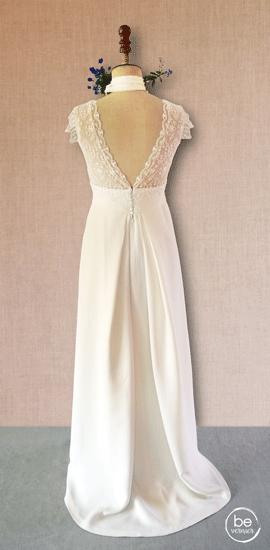 robe dos nu taille haute à plis creux en double crêpe de soie et tulle brodé
