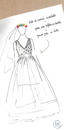 robe de mariée personnalisée en dentelle, tulle et soie sauvage drapée
