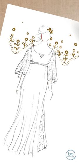 robe de mariée personnalisée en double crêpe de soie et tulle brodé de Calais