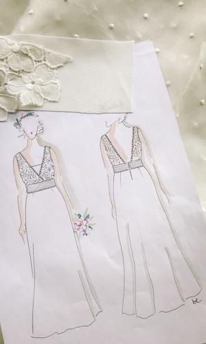 croquis blanc robe mariee laetitia soie organza plumetis be vernier 2019