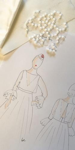 croquis robe de mariee top poignets a volants dessine par be vernier